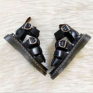 NEW Dr Martens Mackaye Black Leather Strappy Sandals Size Women's US 6